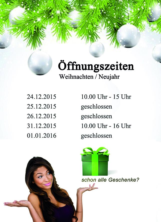 Öffnungszeiten 2015 Weihnachten